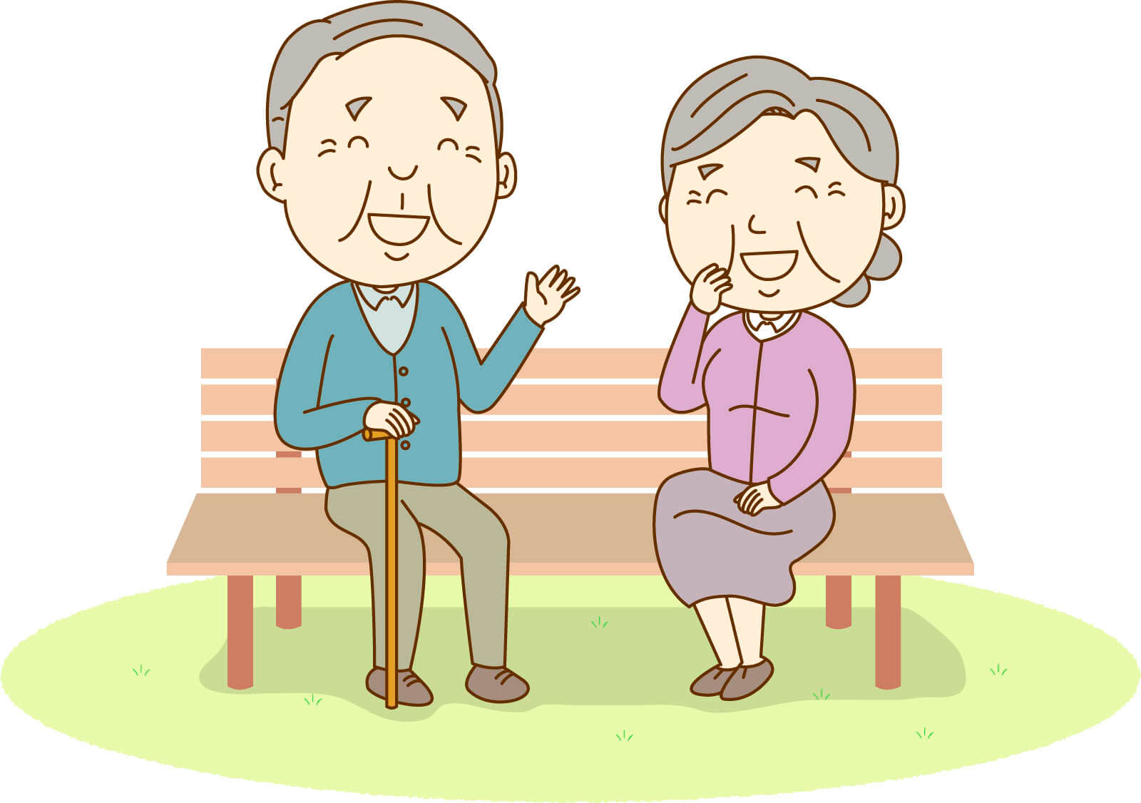 Image of conversation between an old man and an old lady