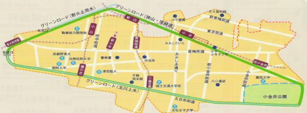 map of green road in kodaira